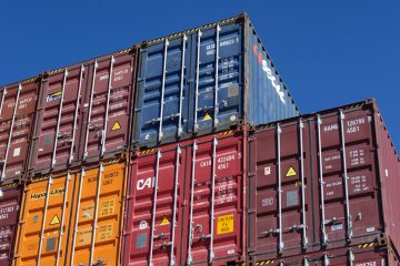 blue and orange intermodal containers